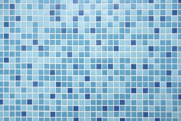 Blue Mosaic Tiles Close up