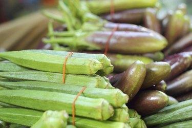 green okra pods fresh in the market.