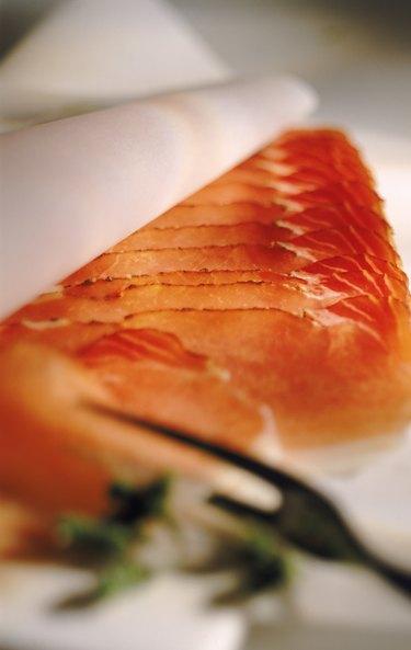 Smoked salmon, defocused