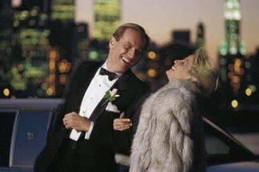 Couple outdoors in formal wear