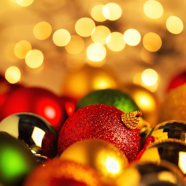 close-up of an array of Christmas decorations