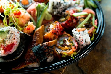 Assortment of sushi on platter