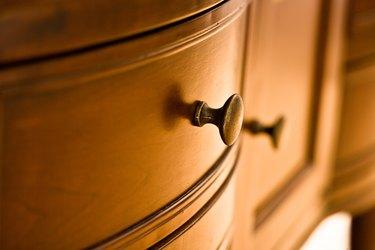 Close-up of knob on dresser drawer