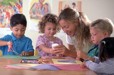 Children and teacher at Sunday school