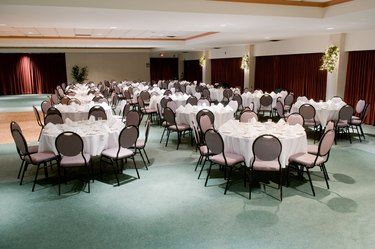 Banquet room with tables and chairs