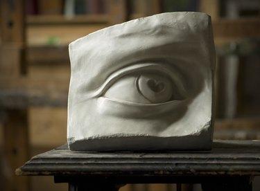 Gypsum model of David�s eye in painting studio i