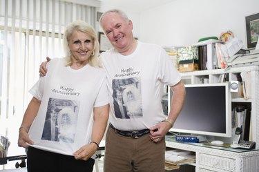 Senior couple wearing anniversary shirts