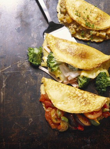 Hearty Pancakes with Ground Meat; Broccoli and Ratatouille