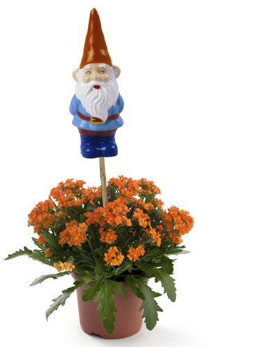 Garden gnome with flowers