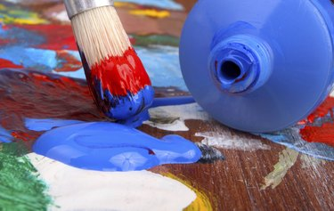 Artists paintbrush and paint