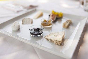 Dish of italian cheeses