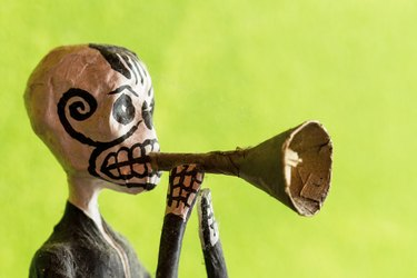 """Mexican """"Day of the Dead"""" Figurine Blowing Trumpet"""