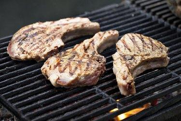 Pork chops on grill