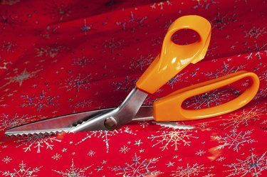 Pinking shears or scissors cutting