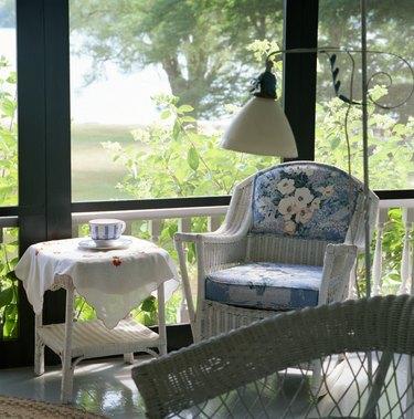 Wicker furniture on sun porch