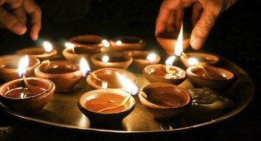 Lighting diwali lamps