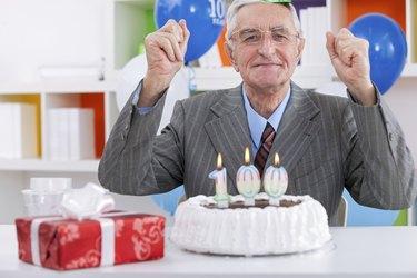 Elderly man celebrating birthday