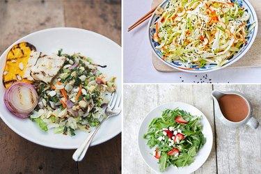 Three different types of salads.