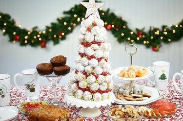 Powdered sugar donut hole Christmas tree