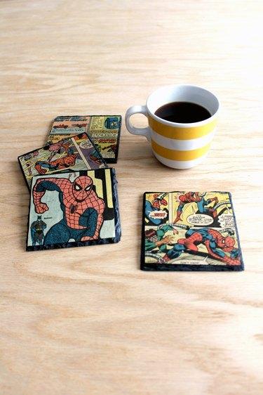 how to make decoupaged slate coasters with vintage comic books!