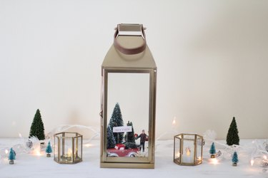 Holiday scene displayed in lantern