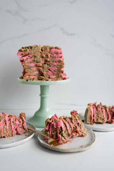Slice and serve the Funfetti Cookie Cake!