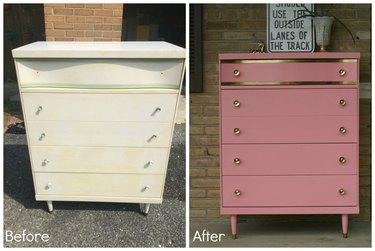 Gold leafed dresser before & after