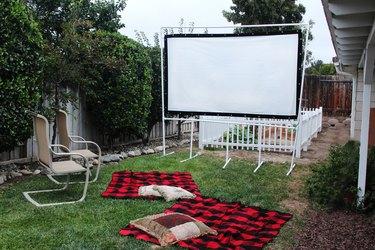 Backyard movie screen ready to entertain