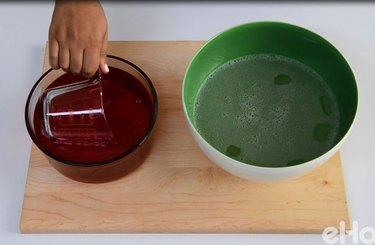 Add the red gelatin to the clear gelatin and mix together.