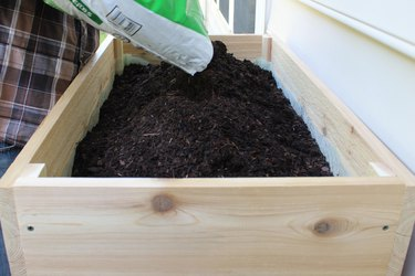 add gardening soil to box and favorite plants | how to make an elevated planter box
