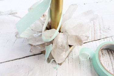 Attach crystals to lamp base