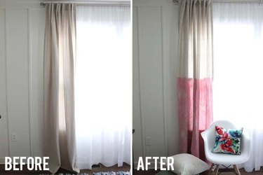Before and after curtain dye