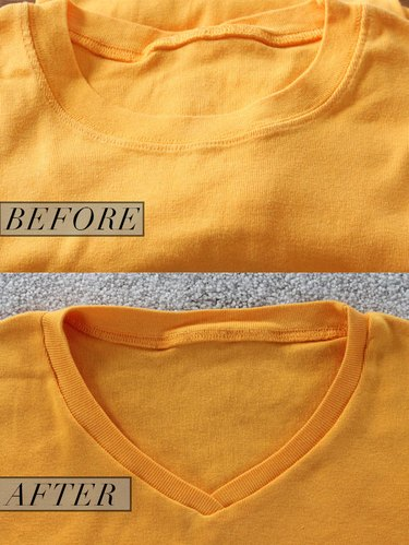 crew neck to v-neck before and after