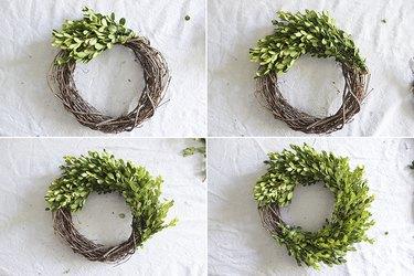 Attach bundles all the way around the grapevine wreath.
