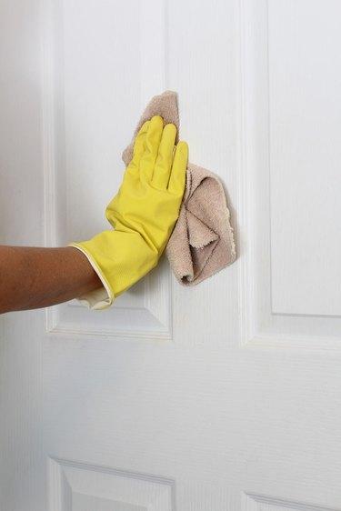 Clean the door with liquid deglosser.