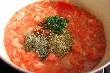 Seasonings in tomato sauce
