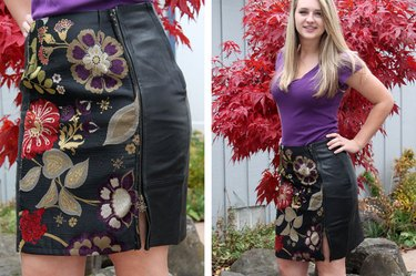 finished leather skirt