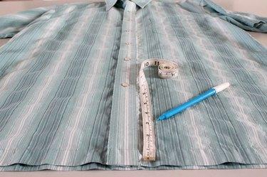 measuring and marking new hem