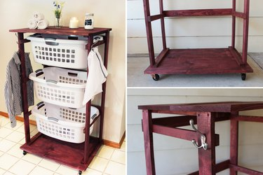 Fully functional rolling laundry cart with garment hooks