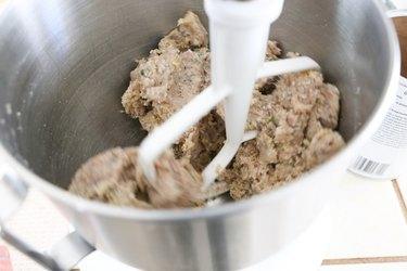 Meatloaf mixture mixing in mixer