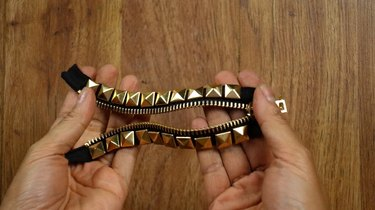 Finished applying two rows of studs to a zipper bracelet.