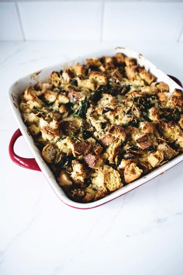 A casserole dish filled with freshly baked strata.