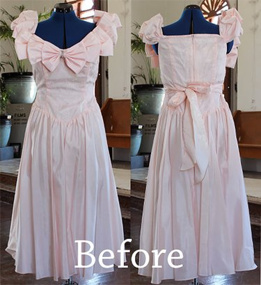 """front and back view of the """"before"""" dress"""
