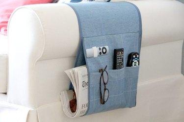 Arm chair remote control caddy.