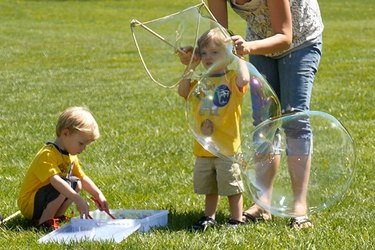 kids with bubbles