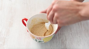 stirring mug cake ingredients