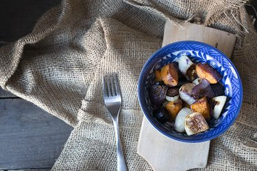 A bowl of roasted vegetables.