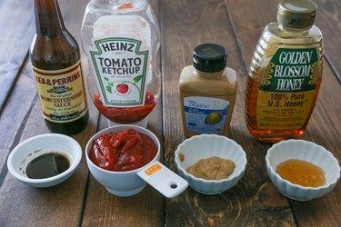 Meatloaf sauce ingredients measured out