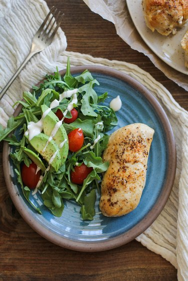 Chicken with side salad