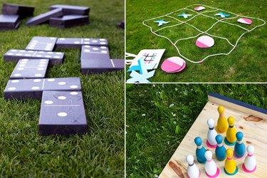 Dominoes, tic-tac-toe and bowling pins.